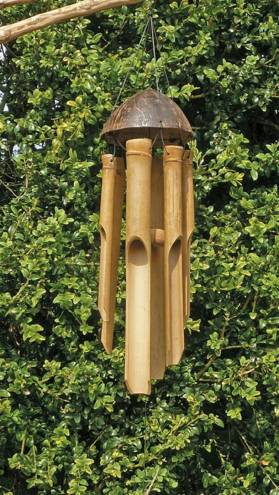 Bamboo Wind Chime Natural Bamboo & Coconut Shell Fair Trade 35cm