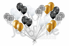 24 pc Elegant Damask Black White Clear Gold Latex Balloons Party Decoration Baby