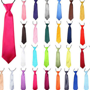 Satin-Elastic-Neck-Tie-For-Boys-Kids-Children-Ties-Necktie-Wedding-Party-Prom
