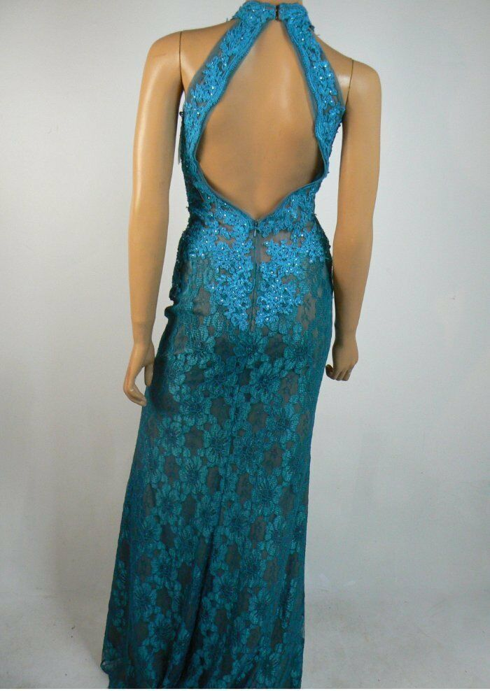 399 399 399 Avery G Turquoise bluee Lace Embroidered Halter Sheath Prom Gown 0 NEW A933 877ad9