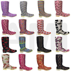 Image is loading NEW-LADIES-WOMENS-GIRLS-FASHION-WELLIES-BOOTS-SIZE-