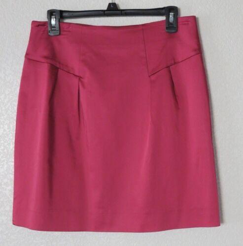 New Eccoci ETCETERA Pink Satin Style Skirt Size 14 Flat Front Side Slit Pockets