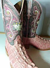 Womens Sz 24 US-7 Ostrich Leather Western Cowboy Boots El General Mexico Pink