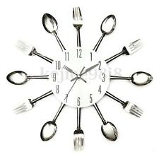 Modern Sliver Cutlery Retro Wall Clock Fork Spoon Kitchen Utensil Home Decor