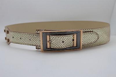 100% Wahr Damen Mode Gürtel Gold Glänzend Kunst- Schlangenhaut-druck Hüfte Taille Einfach Und Leicht Zu Handhaben