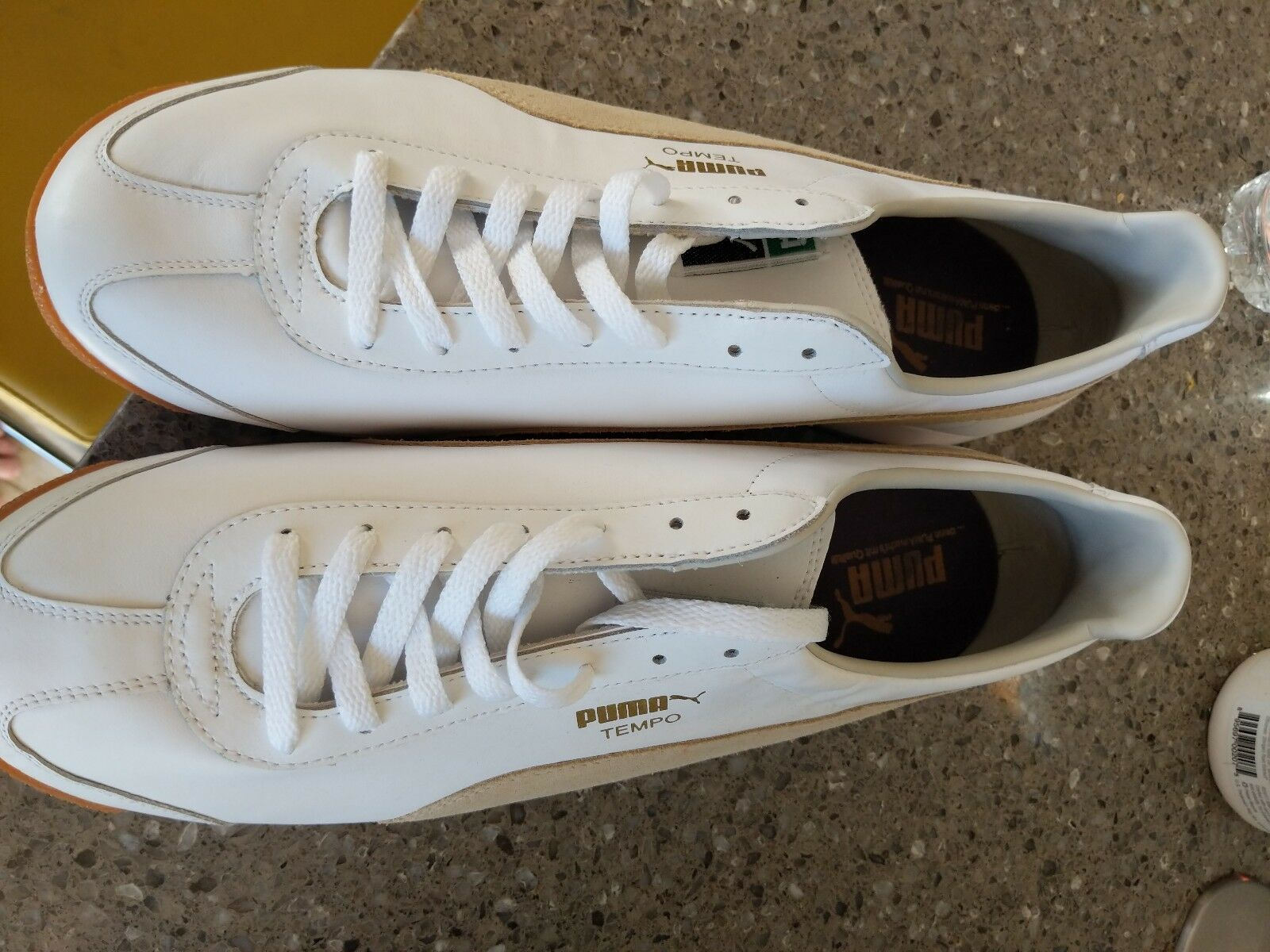 Puma Tempo Shoes  white and tan suede. Clean and unworn