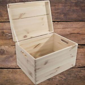 XLarge-Wooden-Decorative-Box-With-Lid-Storage-Chest-Keepsake-Craft-Decoupage