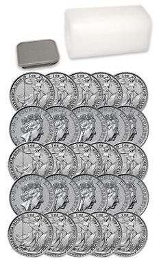 Roll of 25 2016 Great Britain 2 Pnd 1 Oz Silver Britannia Coins