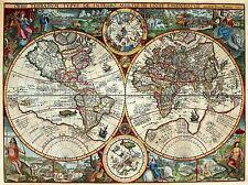 ART PRINT POSTER MAP OLD GLOBE HEMISPHERE ORNATE DECORATIVE NOFL0681