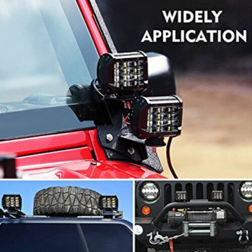 "2pcs 6D 4 Inch Quad Row LED Combo Work Light Bar Spot Flood For ATV Truck SUV 5/"""