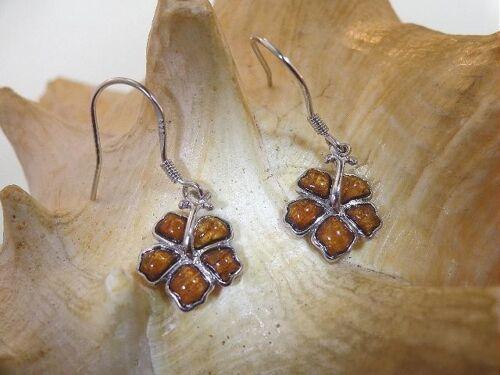 12mm 925 STER Silver Genuine Koa Wood Hawaiian Hibiscus Dangling Hook Earrings