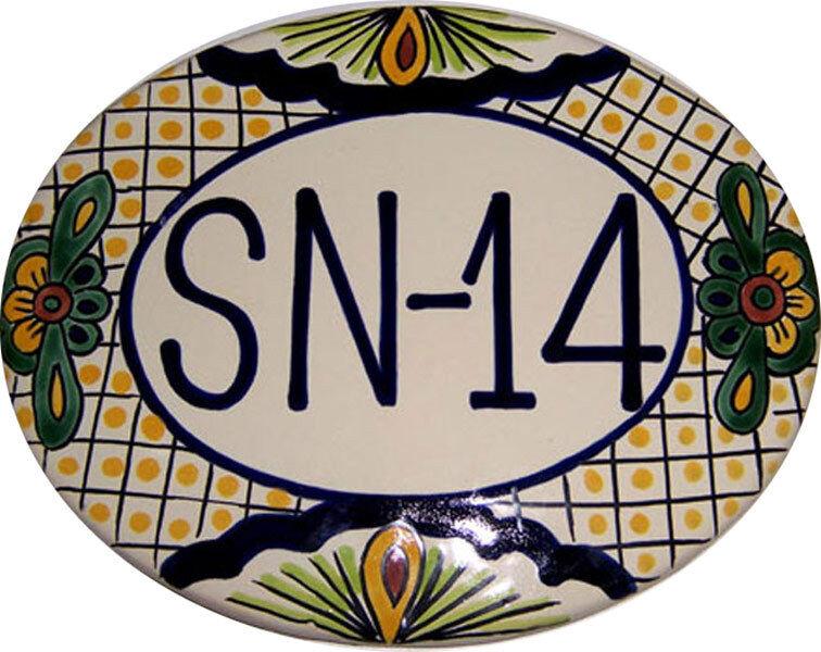 Mexican Ceramic Talavera Custom Wall House Address Plaque    07