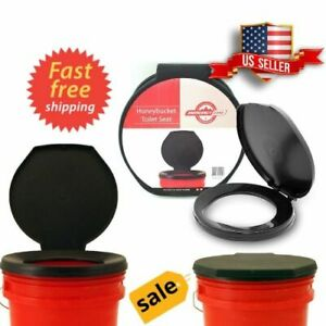 Emergency-Bucket-Portable-Toilet-Seat-Cover-Camping-Outdoor-Travel-Survival-NEW
