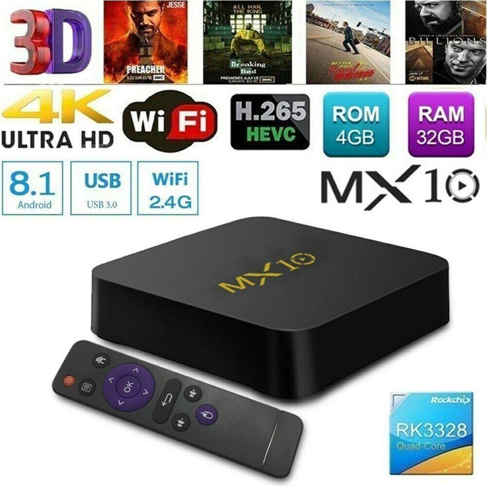 MX10 4G+32G Smart Android 8.1 TV BOX RK3328 4K USB WiFi 3D Media Streaming Y6Q7