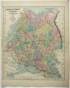 Original-1878-Map-of-Russia-in-Europe-by-William-Hughes-Poland-Finland-Antique