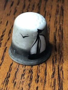 Thimble Ceramic Bisque Sailboat