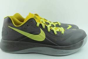 26ca6e130482 NIKE HYPERFUSE LOW GREY YELLOW Size  12.5 BASKETBALL NEW AUTHENTIC ...