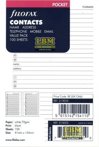Name Address Telephone Refill Value Pack 213055 Filofax Pocket size Contacts