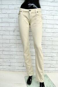 Pantalone-LIU-JO-Donna-Taglia-Size-26-Jeans-Pants-Trousers-Woman-Beige-Regular