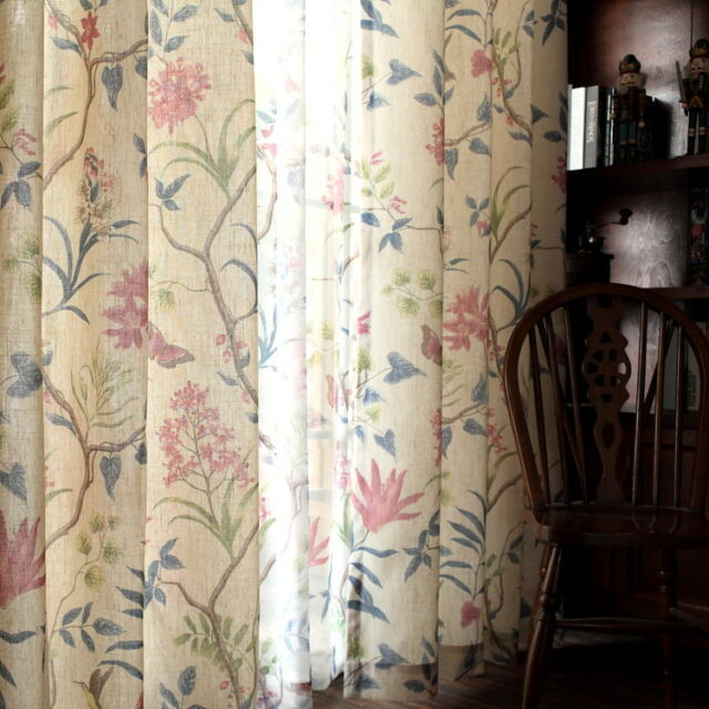 2XCustom French Country Cottage Provincial Floral Rose Beige Curtain Drape Panel