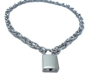 fd8f414635da4 Details about Steel Rope Chain Choker Style Necklace Silver Pad Lock Key  Sid Vicious Punk