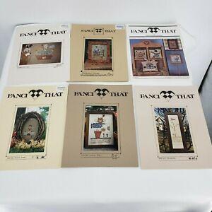 Lot-6-Fanci-That-Colors-Noahs-Folk-Art-Scarecrow-Angel-Autum-Primitive-Samplers