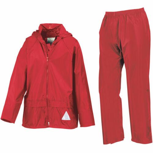Result Kids Waterproof Jacket//Trouser Rain Suit In Carry Bag Full Zip Jacket New
