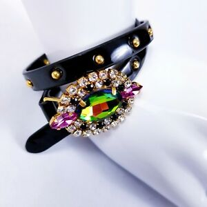 Fashion Jewelry Erickson Beamon Rocks Bracelet Black Leather Stud Goldtone Arura Stone Wrapped Good For Antipyretic And Throat Soother Jewelry & Watches