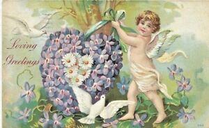 Antique-Vintage-Post-Card-Cherub-Doves-Forget-Me-Nots-Love-1908