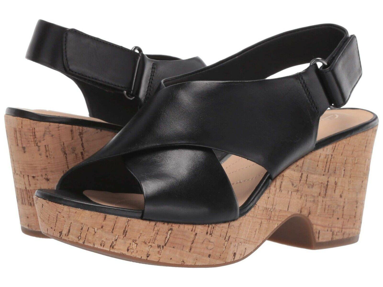 Chaussures Plateforme Clarks Sandale Noir Talons Maritsa Cuir Lara mn0Nyv8wO