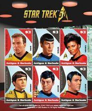 Antigua - 2017 Star Trek 50th Anniversary Sheet of 6 Stamps -  MNH