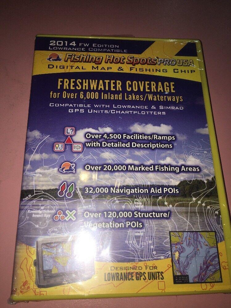 Puntos calientes de pesca Pro Usa 2014 mapa digital de cobertura de agua dulce Lowrance-barco N24