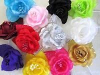 12 Poly Silk/mesh 2 Rose Flower Bouquet Brooch/wedding Floral Craft/corsage F67