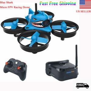 Micro-FPV-RC-Drone-Quadcopter-HD-Camera-RTF-Tiny-Whoop-w-FPV-Goggles-Blue-Shark