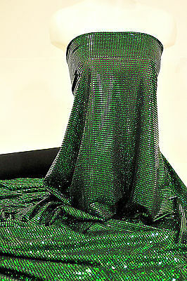 "POLY/SPANDEX SEQUIN STRETCH  FABRIC KELLY GREEN  58"" DANCE, CHEER BOWS"