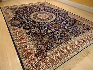 Silk Rugs Traditional Large Rug 8x12 Navy Blue Area Rugs