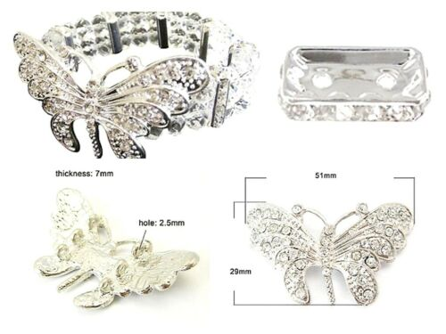 """54mm lady-muck1 Rhinestone Butterflies /""""BUY ONE GET ONE FREE/"""" Bright Silver"""