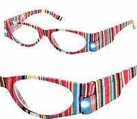 +1.00 - +3.00 Aj Morgan Pink Stripes Led Lighted Patented Reading Glasses