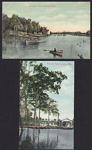 2-Lansing-Michigan-Waverly-Park-Antique-Postcard-Lot
