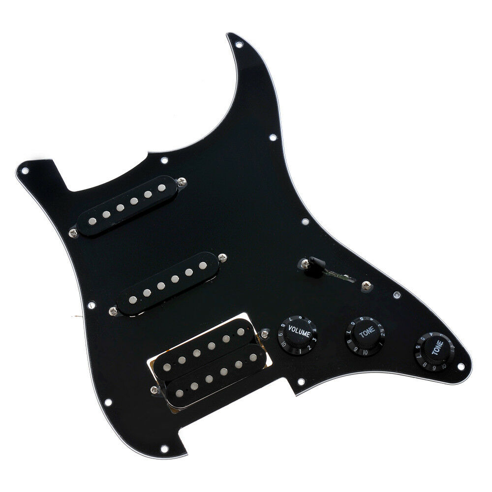 guitar loaded prewired pickguard for fender stratocaster strat parts hss black ebay. Black Bedroom Furniture Sets. Home Design Ideas