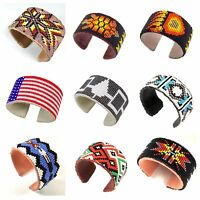 Native American Inspired Style Beaded Hard Cuff Bracelet Genuine Leather 1.5