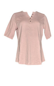 Denim-amp-Co-Women-039-s-Top-Sz-S-Essentials-Elbow-Sleeve-Textured-Pink-A303257