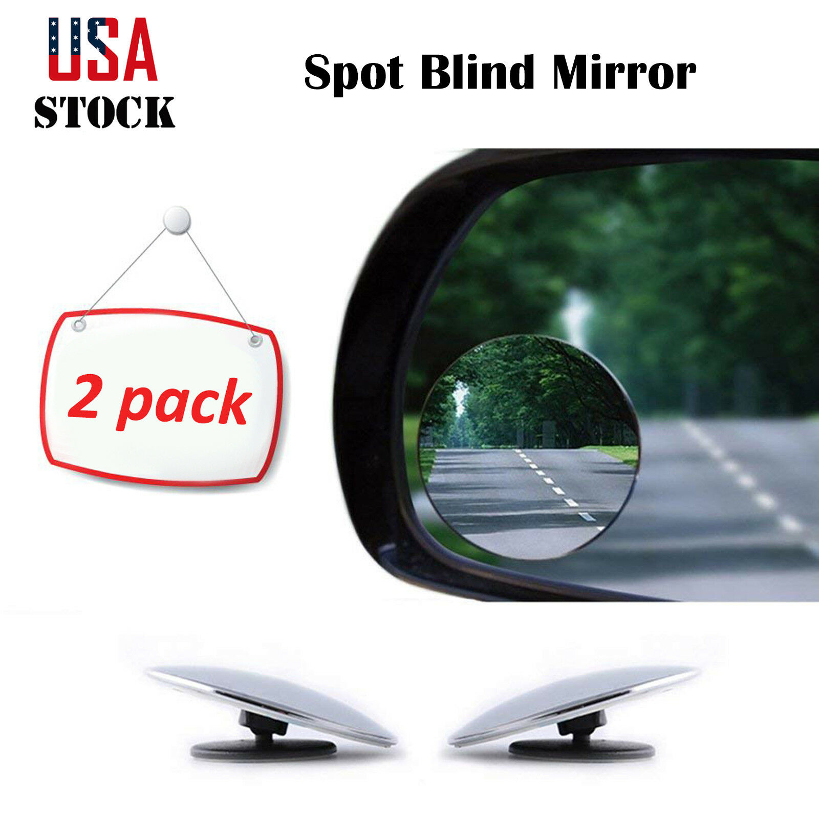 2PCS Round Blind Spot Mirror HD Glass Frameless Convex Wide-Angle Rear View 360°