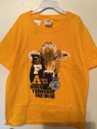 Born To Wear The Blue New FFA Youth Size Medium T-Shirt Cattle Cow