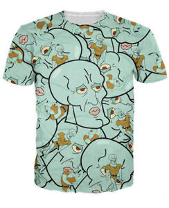9df76595fc Women Men 3D T-Shirt Anime Handsome Squidward print Casual Short ...