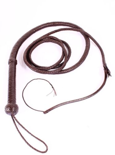 INDIANA JONES BULL WHIP HUNTER BROWN REAL COWHIDE LEATHER 10 FOOT LONG BULLWHIP