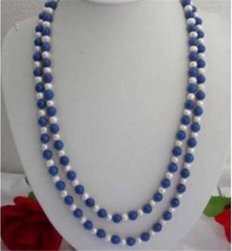 """8 mm naturel égyptien bleu Lapis Lazuli /& Véritable Perle Blanche Collier 65/"""" PN1145"""