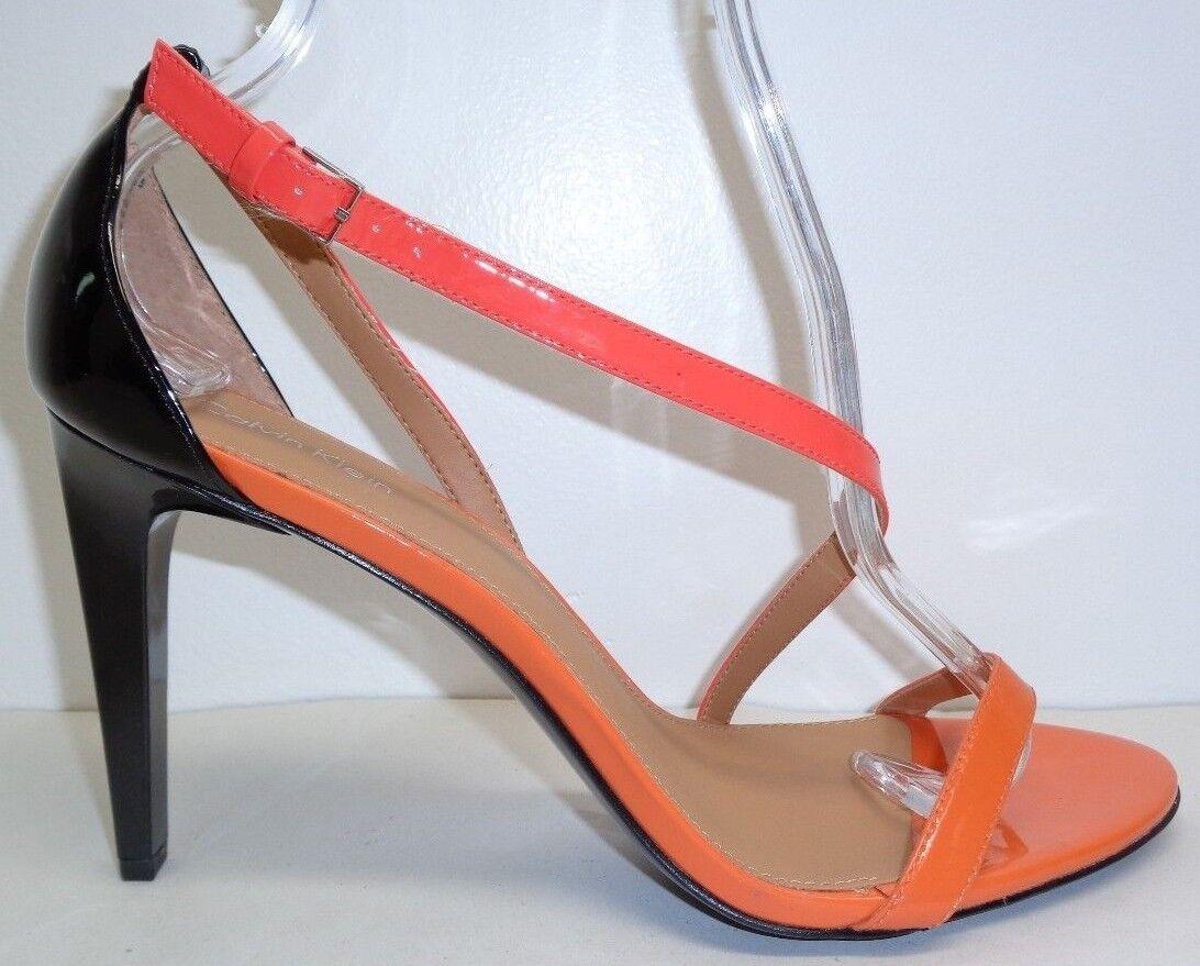 Calvin Klein Größe 9.5 M NARELLA Orange Patent Leder Sandales NEU Damenschuhe Schuhes