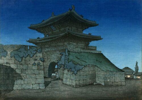 "Art Woodblock Print Korean /""East Gate Seoul Moonlight/"" ELIZABETH KEITH"