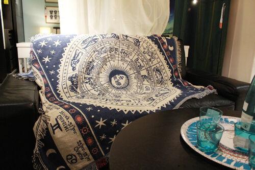 Blanket Sofa Rug Mediterranean Throw celestial Mhite Constellation Zodiac Print